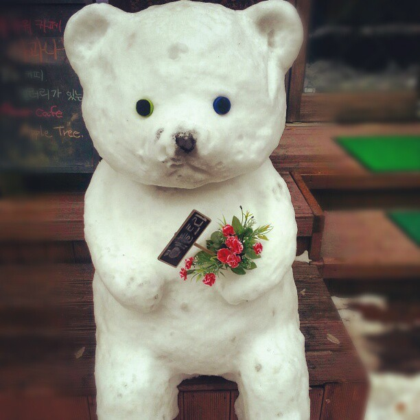 Another daing member of our street's snow creature collection #daegu #korea #awesome #apple #tree #cafe #coffee #bear #teddy #snow #white #winter #wow #art #urban #outdoor #nature #eco #random #sidewalk