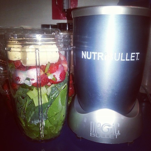 My Pops got my Mommy a #nutribullet today so guess what I'm doing? ♥ EXCITED to start my Mom (and Dad) on a better,  healthier nutritional journey. This will be a great experimental path for my Moms Parkinson's (I'm not in agreement with that diagnosis) ♥ #Juicing #Kale #Spinach #Body #Nutrition #Journey #Parents #Banana #Strawberries #straightjuicin #LifeStyle (I tossed A LOT of stuff from their frig *crossing fingers* pinching pennies Dad aint made) lol #Family #Love #MothersDay