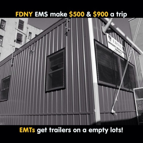 #ems #emt #paramedic #nyc #ny #fdny #nypd #life #ambulance #hospital #trailer so we save life, we carry around 80 pounds of equipment and this is what we get! An empty lot! On a trailer!