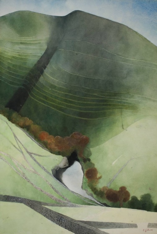 snowce:  Edward Burra, Valley and River, Northumberland, 1972