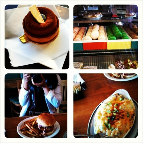 cosetted:  Outing with Kim. Amazing.  So much food and wine in the span of 2hrs. Oye…Fun day, though :-)