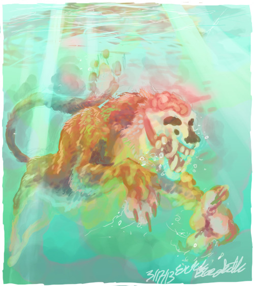 speedpaint thing of a zombie tiger thing swimmingg inspired by that photo I saw earlier of a tiger swimming and it was just gr8 ok