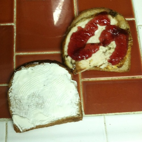 Look what I just made!! Strawberry jelly, cream cheese, chicken breast #food