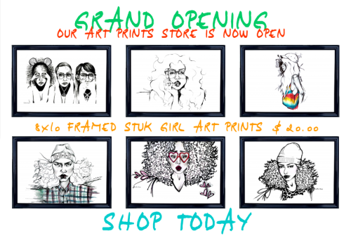 Our long awaited art prints store is now open online! We are so excited to launch our framed prints. Soooo excited that we are hosting a march giveaway for all our beautiful followers. Our giveaway will take place on instagram, facebook and twitter. Want to win a free art print of YOUR choice? Here's how it works: REPOST your very favorite STUK GIRL illustration and @STUKDESIGNS, then hashtag #STUKGIRL and #marchgiveaway. The person who comes up with the very BEST caption wins! So hurry and find your favorite images because the contest ends SUNDAY MARCH 17th — ST. PATTY'S DAY!!! GOOD LUCK! Shop today and play our march giveaway! We love you all! XO.  SHOP HERE!!! SHOP HERE!!!
