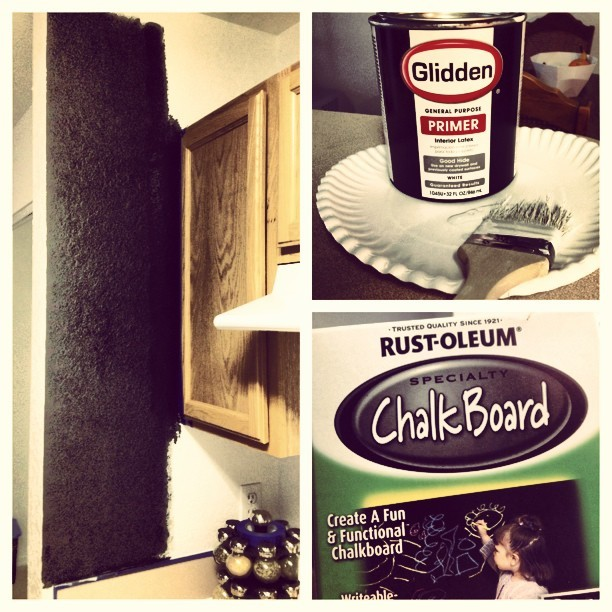 @kaitlynmallory and I have decided to experiment with our kitchen. #painting #chalkboard #kitchen