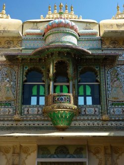 Beautiful balcony in the Peacock Courtyard, Udaipur City Palace, India  Photo by Steve Hoge