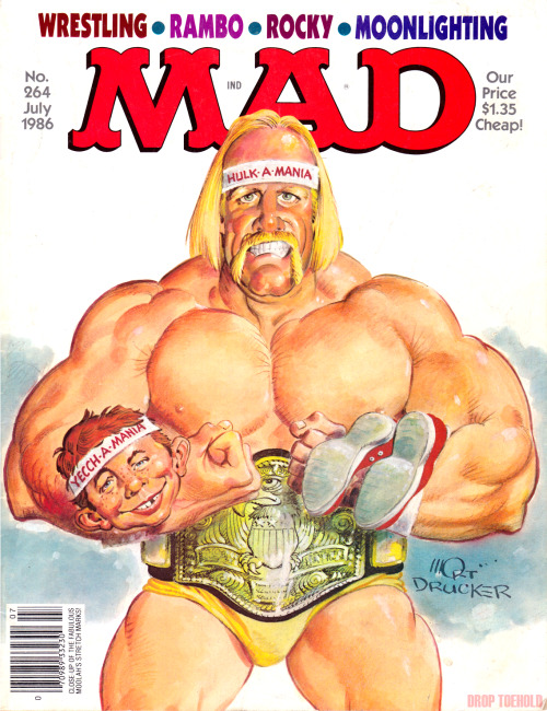 "Hulkamania Spoof - MAD Magazine #264 [July 1986] Another fantastic parody cover from MAD Magazine featuring a WWF SuperStar, drawn by the legendary Mort Drucker. The word legendary is not used lightly here as the cartoonist and caricaturist has been working with the magazine for over five decades now and even received several awards for his work throughout his illustrious career. Click through the break for ""MAD's Pro Wrestling Predictions"". Related: World Wrestling Federation Superstars Spoof - MAD Magazine #285 [March 1989] [[MORE]]"