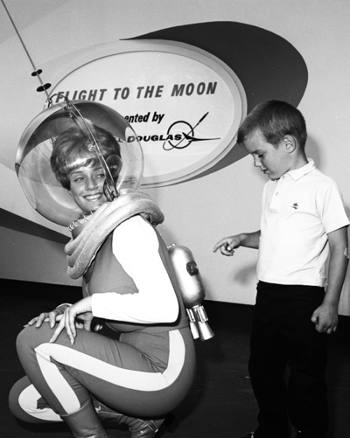 Publicity photo for the Flight to the Moon attraction at Disneyland, 1967 (x)