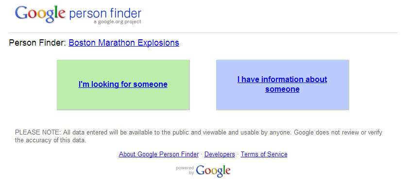 avengelockhiddlebatch:  Google person finder for anyone who has information or is looking for a friend/family member in Boston!! http://google.org/personfinder/2013-boston-explosions