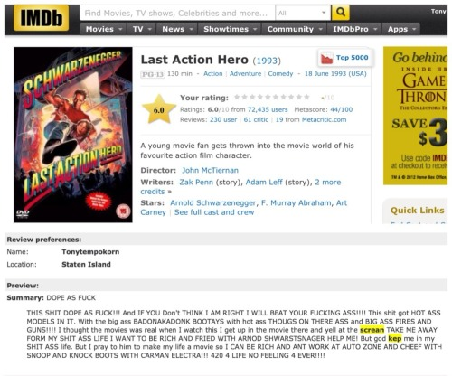 Tony is on imdb