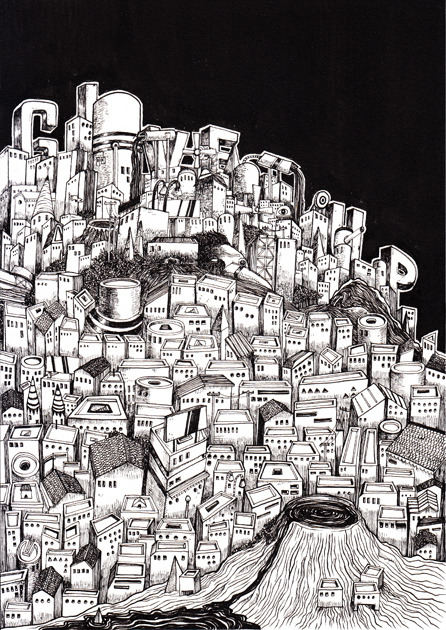 speakcryptic:  MINOR CITY (01)Pen and sumi ink on paper, 2013297mm x 210mm
