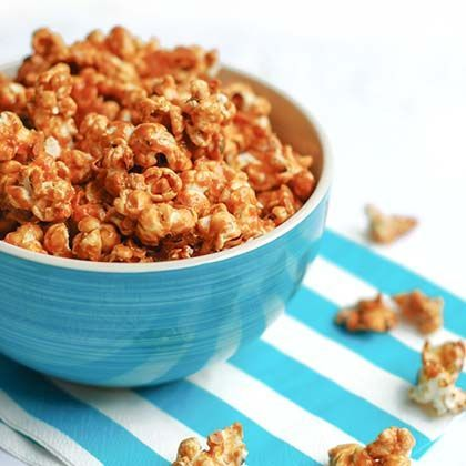 Dulce de Leche Popcorn the perfect snack for a night playing the ultimate movie trivia game, Pass The Popcorn. (recipe)