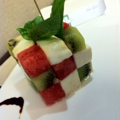 Fruit cube with tomato mozzarella and fresh basil. #foodspotting  (at Woodside Restaurant @ Parkyard Hotel Shanghai)