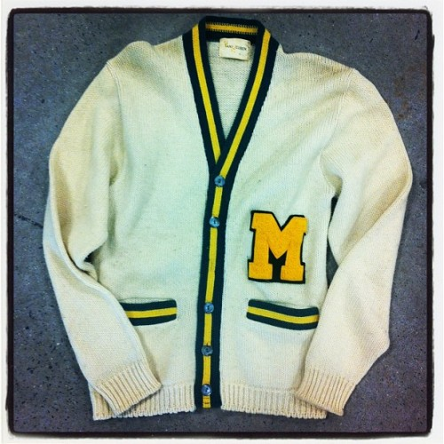 Of course now that it's Spring I find an awesome #vintage #varsity #sweater (at AuH2O Thriftique)