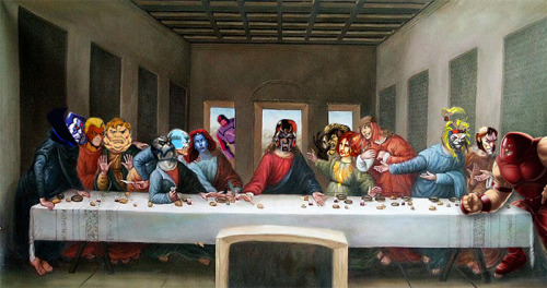 Magneto's Last Supper   Artist: Leonardo da Vinci Villains: (from L to R) Mr. Sinister, Pyro, The Blob, Apocalypse, Avalanche, Mystique, Sentinel, Magneto, Sabretooth, Dark Phoenix, Lady Deathstrike, Omega Red, Mastermind, Juggernaut