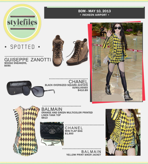 SPOTTED: Vivacious Bom Strutting in Luxury Brands Balmain, Chanel & Guiseppe Zanotti at Incheon  Our lovely Lady Spring Park Bom is making heads turn with her effortless style during her latest trip to Japan, via Incheon Airport. It should come as no surprise that Bom exudes sexiness without even trying; oftentimes her trademark stockings does the trick. If there's any brand that best fits Bom's style and personality, it would be none other than Balmain's latest resort and prêt-à-porter (or ready-to-wear) collection. The Balmain bright yellow biker jacket is a stunner; underneath it is a Balmain Multicolor Printed Linen Tank Top (available at net-a-face for $810), whose color tones are season-appropriate. Bom accessorized herself in another quality brand — Chanel. Bom complemented her outfit with a pair of Chanel Oversized Square Acetate Sunglasses (available at Liberty London for $410.89) and a Chanel Hampton Mini Flap Bag (available at spotted fashion for S1,900), a seasonal bag which was released in Chanel 2011 Fall Collection, and has made a comeback during the Spring 2013 Collection. The bag is a hot item among celebrities and fashion savants. To finish the look,  Bom wore wedge sneakers from Guiseppe Zanotti (available at Neiman Marcus for $595.00). The wedge sneaker is a must have this season! Blackjacks, do any of you have a pair already? Fashion IDs by WILLA@ygladies.com and BEAbee@ygladies.comCollage by WILLA@ygladies.comArticle by staff@ygladies.com