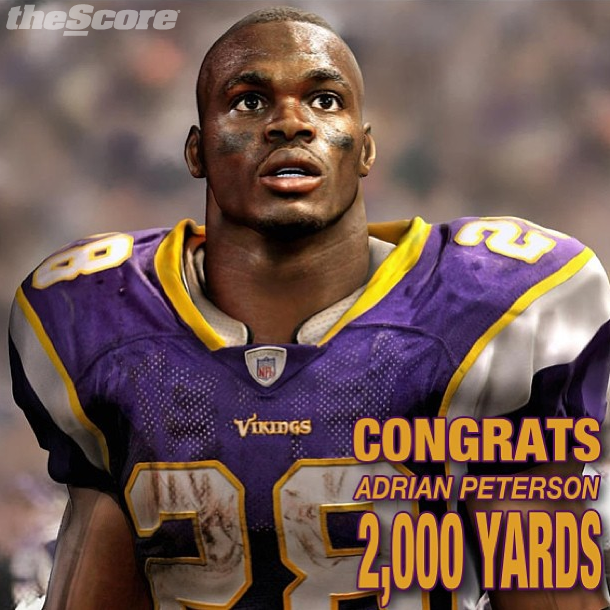 Pic: Congratulations Adrian Peterson. #2000Yards