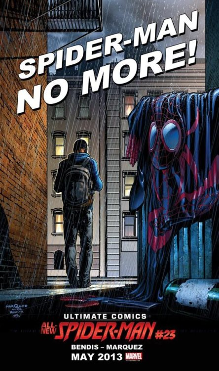 "Portada de Ultimate Comics Spider-Man #23 ""Spider-Man No More""."