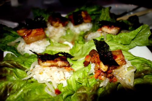 Pork belly lettuce wraps @Tonight