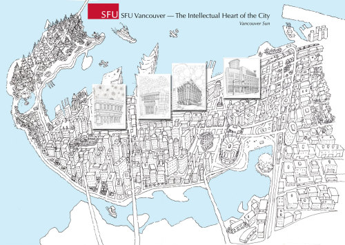 Map of downtown Vancouver by Dennis Smith, a promotional for SFU campus downtown designed to be printed as a large format mural approximately 8ft by 4ft. This map includes a number of drawings seen previously here.
