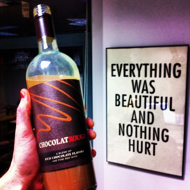 Someone sent us a bottle of chocolate wine. It was not beautiful and now everything  hurts. 💀🍷💀🍷💀🍷