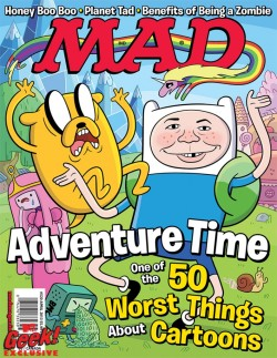 adventuretime:  Adventure Time Reaches Zenith of Cultural Significance  By getting the cover to MAD, February 19th. Read about here. (Hey, Chris Houghton, is that your artwork?)