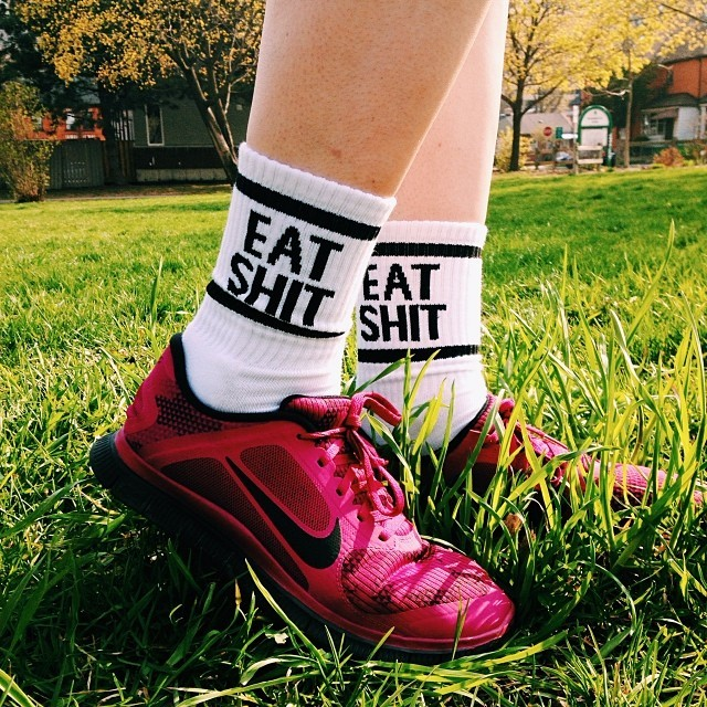 Today I wore my wicked new socks to the gym from @osclothes  and of course I had to stop in the park to snap a picture of em! #shoplocal #eatshit #nofun #nikes #socks #hamont #vsco