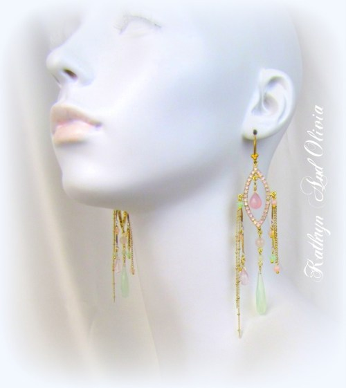 Hand-Painted Rhinestone Chandelier Drop Earrings lavender pale pink with Aqua Chalcedony Briolettes