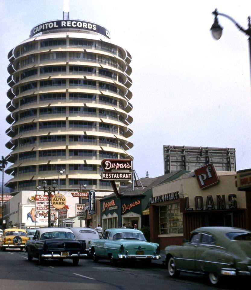 maudelynn:  The Capitol Records Building on Vine St, Hollywood c.1958