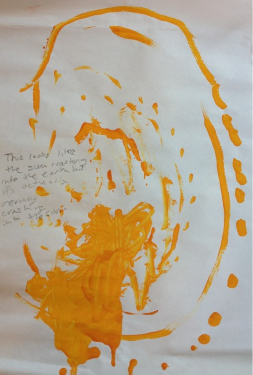 "As written on the painting by one of J's teachers: ""This looks like the sun crashing into the earth but it's actually Mercury crashing into the sun."" April 2013 Jonah (age 4 1/2)"