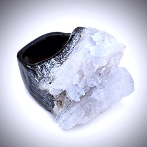Have you seen our new #Celestite ring? Custom made to your ring size with a unique stone. Find it in our @Etsy shop. (at www.etsy.com/shop/JAKIMACshop)
