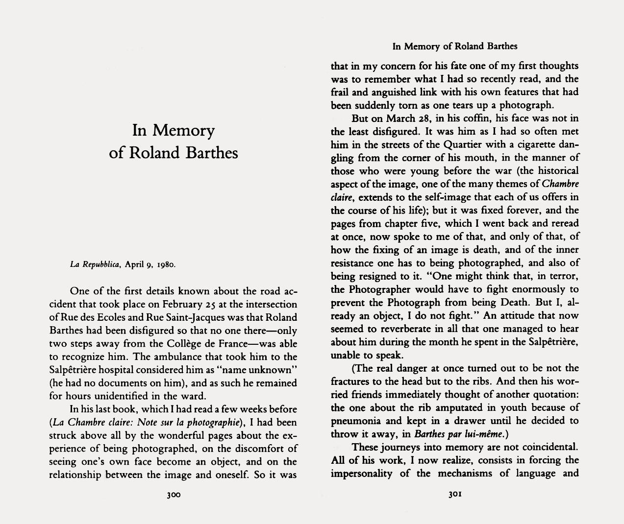 Italo Calvino, In memory of Roland Barthes, «la Repubblica», April 9, 1980; in Calvino, I., The Uses of Literature, Translated...