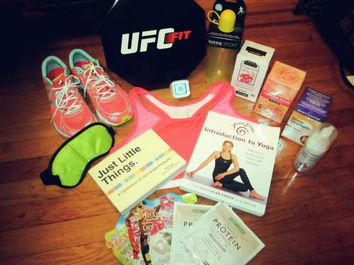 fitify:  FITIFY'S FITBLR GIVEAWAY, PARTY UP.  I promised this was coming, and it's finally here! As some of you may know, I've had the opportunity to get lots of free swag over the past few weeks thanks to my new internship, and while I've certainly kept a lot of it for myself, I wanted to share the wealth with my followers! I can't possible use all this stuff. That means giveaway! I added it up the worth of this package, and it comes to about $500.   What's included:   UFC Full Body Intensity Training DVD Set – Fun fact: It's not available to the public yet!  New Balance Running shoes (Coral and Teal, size 9)   iPod shuffle  New Balance sports bra (Size L)  Bobble Sport water bottle  Two Trader Joes teas (Because I'm a tea nut and you should be, too. Pomegranate white and ginger peach)   Just Little Things: A Celebration of Life's Simple Pleasures book  Introduction to Yoga book  Sleep mask  3 packages protein powder  A buttload of fun facial masks  Bare Faced & Fabulous face wash and make-up remover  With a potential for more surprise gifts, since I get new swag almost every day and would be happy to throw things in!   What you have to do:  Be following me: http://fitify.tumblr.com/. I'll check, blah blah blah, etc.   If you have a chance, please check out my fitness blog for Her Campus and SELF, too! This post, in particular, talks about my experience with UFC FIT, which you have a chance to win.  Reblog as much as you want, but likes don't count!  Winner doesn't have to be a health and fitness blog by any means, but it cannot be a blog that promotes unhealthy behavior or eating disorders. Recovery blogs are of course fine.   You have until June 2nd, 2013!  Have your ask open so I can contact the winner.  Winner will be chosen with a random generator  You're welcome to enter to win even if you are not the correct size for the shoes/bra. Just let me know if you win that you don't need those, and they will be given away separately.   Don't delete the text / reblog just for the picture. Thanks!   Good luck, everyone!   For my sister!
