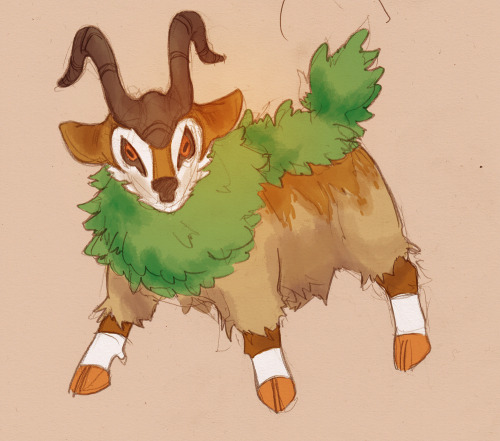 @Albrecht_Letao on twitter asked for gogoat! Gosh, the new pokemon are super cute! This was fun to do because I don't draw enough creatures. Gotta do more! Man, I can't believe I'll have to buy an entire 3DS to play this game. >:( I'll probably get it used, I suppose.