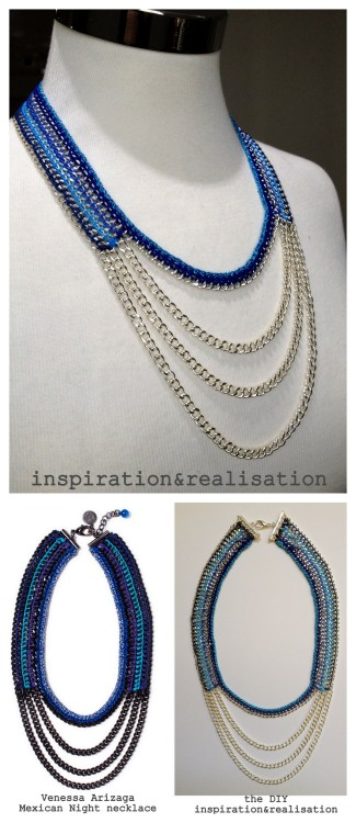 DIY Venessa Arizaga Mexican Night Necklace Tutorial from inspiration & realisation here. This is the best knockoff I've seen of this necklace ever. Donatella's tutorial is easy to understand with links to all the supplies. Bottom Left Photo: $350 Venessa Arizaga Mexican Night Necklace here, All Other Photos: DIY by inspiration & realisation.