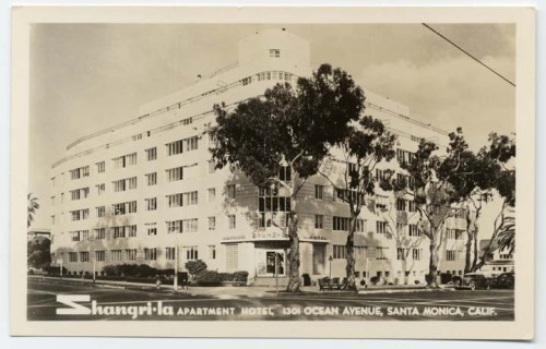 A vintage postcard of the Streamline Moderne Shangri-La Hotel, 1301 Ocean Avenue in Santa Monica, 1940.