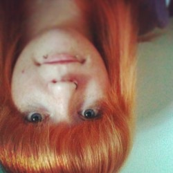 Upside down photo of oneself with new fringe