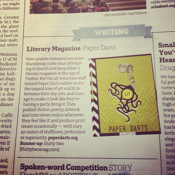 We're stupid-thrilled to be named by the Star Tribune as the best literary magazine in Minnesota. Thank you, thank you, thank you.