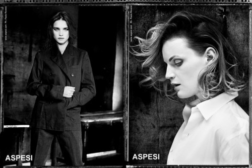 Aspesi presents their S/S 2013 campaign looks featuring beautiful women in men's garments. 역시 이런게 여자는 섹시.