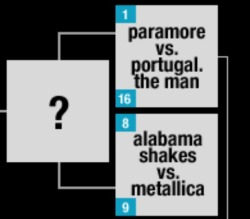 Looks like Portugal. The Man is up against… Paramore… make sure to vote for the guys in MTV's March Madness! Because PTM would make better competition against Alabama Shakes or Metallica anyway. Actually, vote for lots of other bands too because—well you'll see who some of your favorite bands are up against and have a laugh!