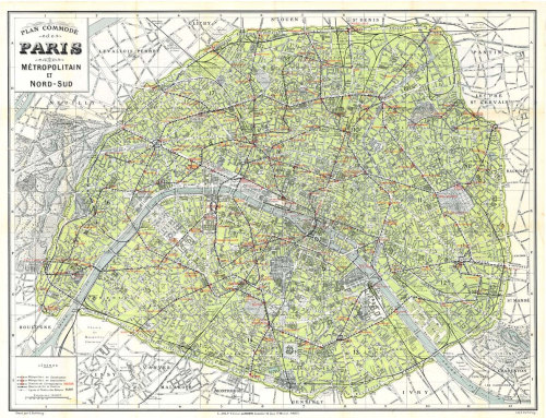 Paris Large Map Vintage 1920s at CarambasVintage http://etsy.me/XtN45y