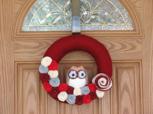 Lil Valentine Owl Wreath Valentine's Day Decor by rusticowldecor