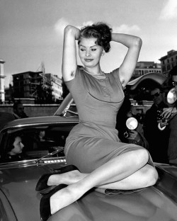 April 04, 1954 Sophia Loren poses for a portrait during the Rally III of Cinema, in Rome. Via