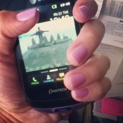Can't tell but my nails match my phone :) Straight As, one B, graduating this Saturday with the best class ever! 😁