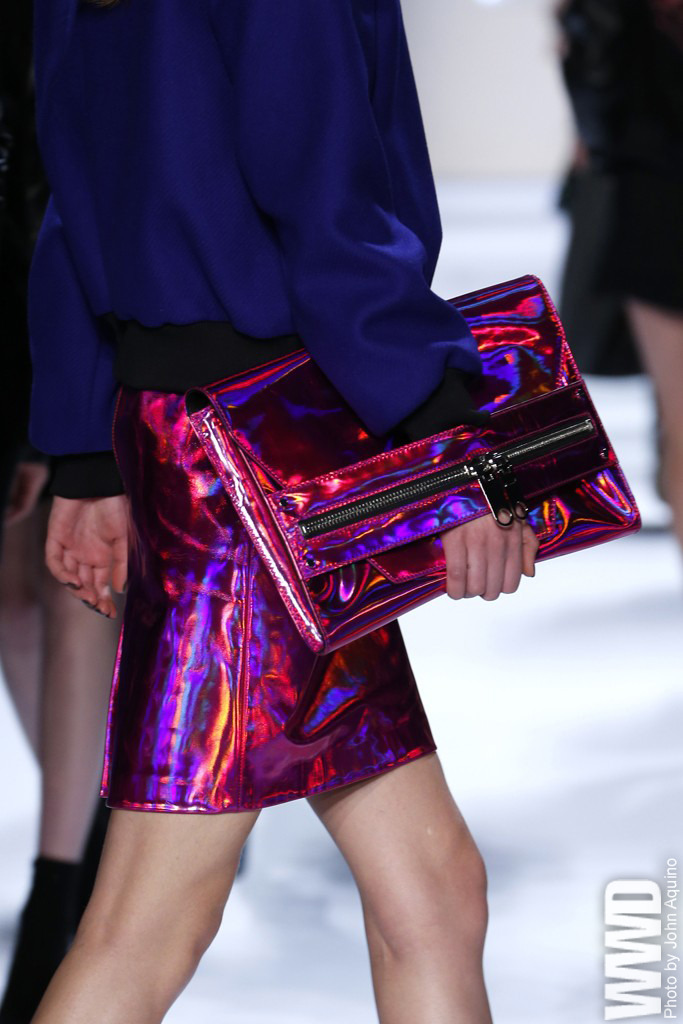 womensweardaily:  Fall 2013 Trend: Gleam Girl Milly  Just the right amount of tacky for me.
