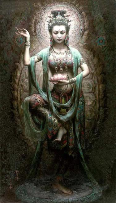 "itmovesmemorelol:  Kuan Yin  Buddhist Goddess of Mercy and Compassion Kuan Yin (also spelled Guan Yin, Kwan Yin) is the bodhisattva of compassion venerated by East Asian Buddhists. Commonly known as the Goddess of Mercy, Kuan Yin is also revered by Chinese Taoists as an Immortal. The name Kuan Yin is short for Kuan Shih Yin (Guan Shi Yin) which means ""Observing the Sounds of the World"". source: Religion Facts via: The Goddess. Mother Earth. Mother Nature. ☽✪☾ Youth/Father/Geezer ☽✪☾"