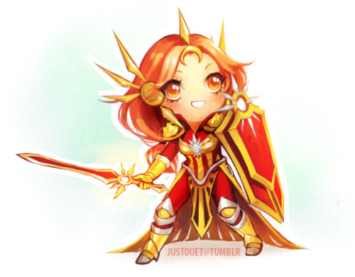 lilypichu:  justduet:  here's leona chibi :3 ermergerd so much detail in her armor @_@ never again  I saw part of this being done on stream! THIS IS SO CUTE AHHHHHHHHHHHHHHHHHHHHHHHHHHHHHHHHHHHHH