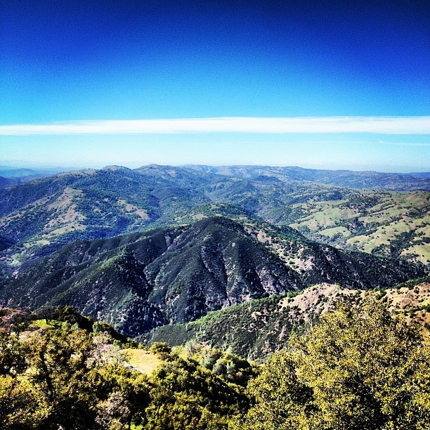 Looking North on Mt. Hamilton, from Lick Observatory. It is a very fantastic climb up there. Not too difficult, just long. Apparently it's steeper (but shorter) from the other side. I rode up from San Jose side.