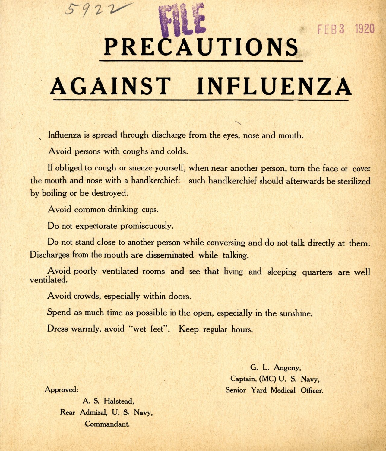 It's still Flu Season, be careful out there!   Precautions against Influenza, 02/03/1920