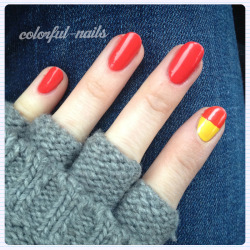 "Hobo gloves and Ronald McDonald-esque nails Colors used: OPI ""My Paprika is Hotter than Yours"" China Glaze ""Sunshine Pop"""